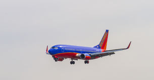 Southwest Airlines Plane on Final Approach Royalty Free Stock Photo