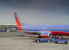 Southwest airplane in an airport Royalty Free Stock Photo