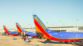 Southwest Airplanes at Chicago Midway International Airport. Stock Photo