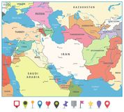 Southwest Asia Map and Flat Map Markers Royalty Free Stock Photos