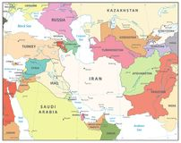 Southwest Asia Map. Isolated on white. Detailed  map of South West Asia Royalty Free Stock Photo