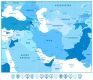 Southwest Asia Map and Map Markers in Colors of Blue Stock Images