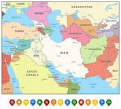 Southwest Asia Map and Map Markers Royalty Free Stock Photo