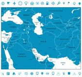 Southwest Asia Map and Navigation Icons Stock Images