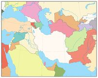 Southwest Asia Map. No text. Detailed  map of South West Asia Stock Photo