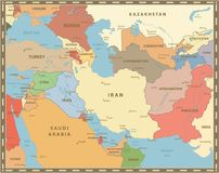Southwest Asia Map Vintage Color Royalty Free Stock Photo