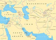 Southwest Asia political map. Southwest Asia, political map with capitals, borders, rivers and lakes. Also called Western, West or Southwestern Asia. Subregion royalty free illustration