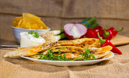 Southwest beef quesadila. Stock Images