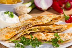 Southwest beef quesadila. Stock Photos
