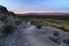 Rio Grande Village Campground Nature Trail in the Morning. Southwest, Big Bend National Park, Rio Grande Village Campground Nature Trail Royalty Free Stock Images