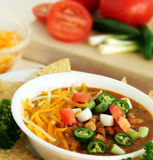Southwest Chili. Delicious Bowl of Spicy Jalapeno Chili royalty free stock images