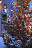 Southwest Christmas tree. Snowy night in southwest Christmas lights beautiful white Christmas in the desert evening snow in New Mexico Albuquerque Stock Photo