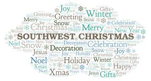 Southwest Christmas word cloud. Wordcloud made with text only vector illustration
