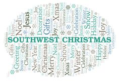 Southwest Christmas word cloud. Wordcloud made with text only royalty free illustration