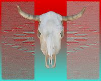 Southwest Cow Skull. Bleached cow skull on top of southwest design Royalty Free Stock Image
