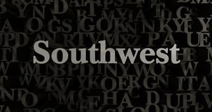 Southwest - 3D rendered metallic typeset headline illustration. Can be used for an online banner ad or a print postcard Stock Photography