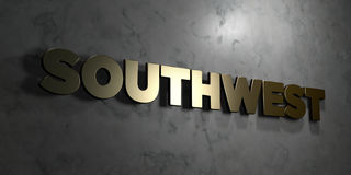 Southwest - Gold text on black background - 3D rendered royalty free stock picture Stock Photo