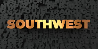 Southwest - Gold text on black background - 3D rendered royalty free stock picture Royalty Free Stock Photography