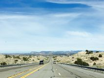 Southwest highway. Drive out of Albuquerque Royalty Free Stock Photo
