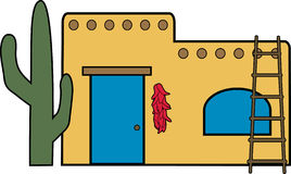 Southwest home. Illustration of an adobe house Royalty Free Stock Photography