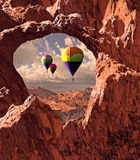 Southwest Hot Air Balloons. Hot air balloons drifting over the landscape of Utah's Canyonlands National Park Stock Photography