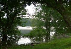 Southwest Missouri Lake with Boater fishing Royalty Free Stock Photo