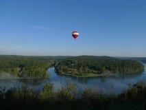 Southwest Missouri lake with hot air balloon Stock Photos