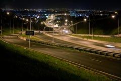Southwest motorway. The motorway at night is winding  far away Stock Photo