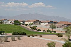 Southwest neighborhood. Neighborhood view by the park in Southwest USA Stock Images