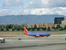 Southwest Plane sits on LAX Royalty Free Stock Photo