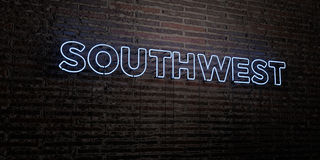 SOUTHWEST -Realistic Neon Sign on Brick Wall background - 3D rendered royalty free stock image Royalty Free Stock Image