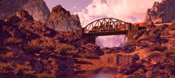 Southwest Steel Arched Bridge And Diesel Locomotiv. A Southwest landscape with steel arched bridge and diesel locomotive Royalty Free Stock Photo