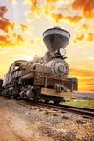 Southwest train spirit. Beautiful ils train in the sunset of southwest USA stock photo