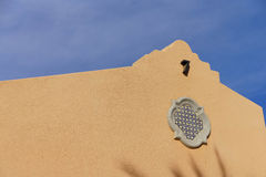 Southwestern architecture. Spanish adobe style building with blue desert sky, Rancho Mirage, California stock photos