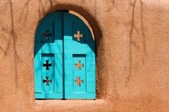 Southwestern Blue Window. On adobe wall in New Mexico Stock Photo