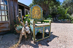 Southwestern design, outdoors. Colorful Mexican design chair and accessories Stock Photos