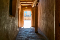 Southwestern hallway. Stucco exterior hallway, Southwestern architecture royalty free stock photo