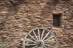 Southwestern Hopi House 1905 Architecture Abstract. With Wooden Wagon Wheel and Window Stock Images