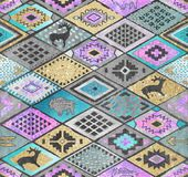 Southwestern patchwork. Rhombuses tiles patchwork in ethnic style. Southwestern seamless pattern with deers, buffalo. Patchwork tribal design Royalty Free Stock Image