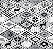 Southwestern seamless pattern with deers, buffalo and triangles. Native american patchwork pattern. Navajo and aztec fancy abstract print in monochrom style vector illustration
