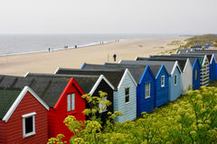 Southwold, Norfolk, UK - Colourful Beach Huts Stock Image