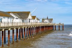 Southwold Pier, a pier in the coastal town of Southwold, UK royalty free stock images