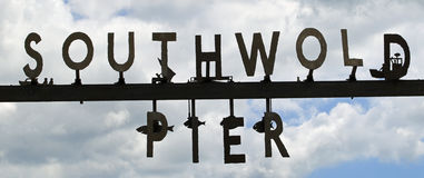 Southwold Pier. Quirky sign announcing the entrance to Southwold Pier Royalty Free Stock Images