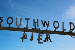 Southwold Pier sign Stock Photos