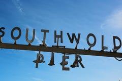 Southwold-Pierzeichen Stockfotos