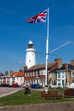 SOUTHWOLD, SUFFOLK/UK - JUNE 2 : Union jack flag flying near the. Lighthouse in Southwold Suffolk on June 2, 2010 royalty free stock photography