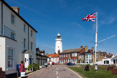 SOUTHWOLD, SUFFOLK/UK - JUNE 2 : Union jack flag flying near the. Lighthouse in Southwold Suffolk on June 2, 2010 stock photography