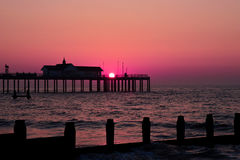 Southwold sunset. Pier at sunset in Southwold, Suffolk, UK Stock Images