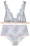 Soutien-gorge et culottes bleus, lingerie de femme Images libres de droits