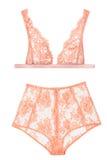 Soutien-gorge et culottes oranges, lingerie de femme Photo libre de droits